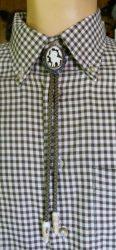 Amerikai nyakkendő agancsfaragással ezüstözött keretben